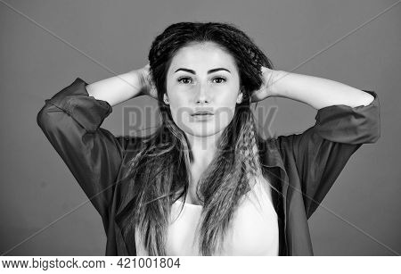 Loving Her New Style. Stylish Hair. Woman In Hipster Trend. Fashion And Beauty Salon. Sexy Female. T