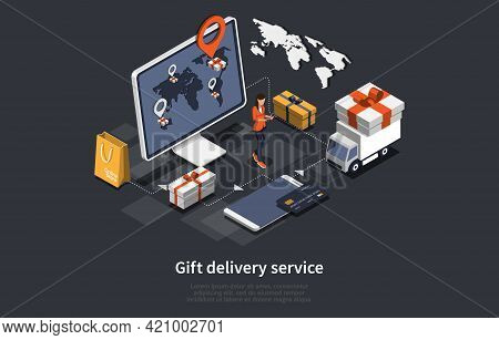 Vector 3d Illustration. Cartoon Isometric Design With Infographics. Gift Delivery Service Concept Ar