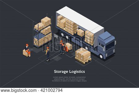 3d Composition, Vector Isometric Art. Cartoon Style. Storage Logistics Idea. Elements And Writings.