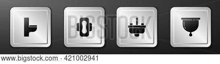 Set Toilet Bowl, Sanitary Napkin, Washbasin With Water Tap And Menstrual Cup Icon. Silver Square But