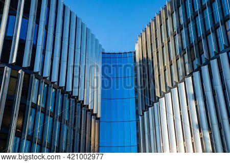 Prague, Czech Republic - 18.04.2021: Common Modern Apartment Skyscrapers, High Rise Buildings, Archi