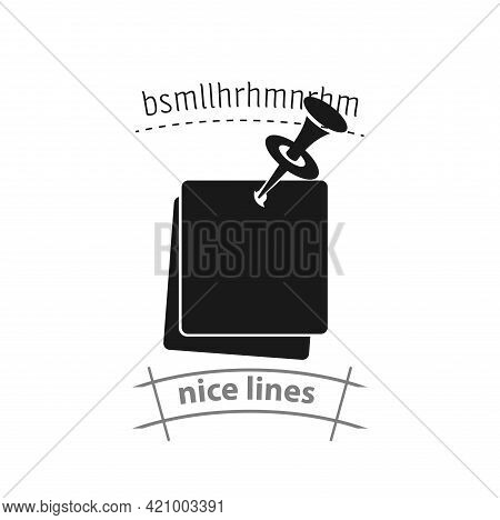 Note Paper With Pushbutton Simple Vector Icon. Note Paper Isolated Icon