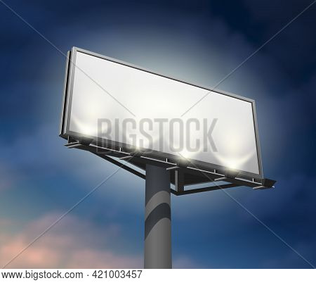 Prominently Placed Billboard To Promote Your Company Lighted And Clearly Visible At Night Abstract V