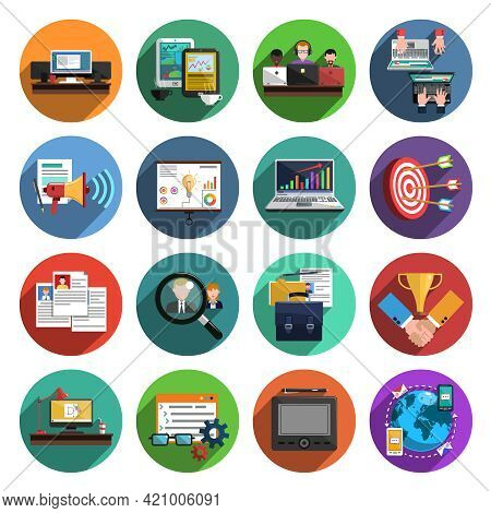 Freelance Recruitment Agency For Temporary Independent Creative Professional Work Flat Icons Set Rou