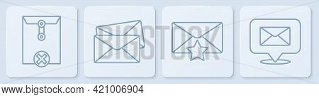 Set Line Delete Envelope, Envelope With Star, Envelope And Speech Bubble With Envelope. White Square