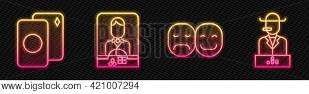 Set Line Poker Player, Deck Of Playing Cards, Casino Dealer And Poker Player. Glowing Neon Icon. Vec