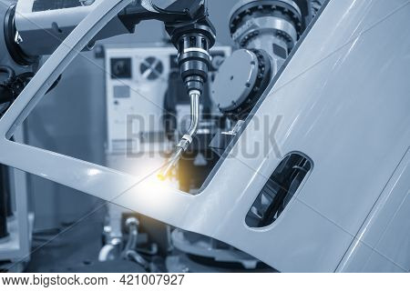 The Welding Robot Working With Automotive Parts Assembly Processing. The Industrial 4.0 Automotive M
