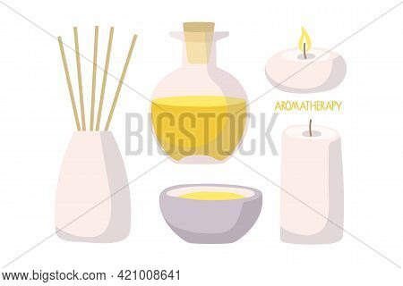 Aromatherapy Icon Set With Essential Oil, Diffuser And Candles. Bottles With Natural Aroma Oil, Arom