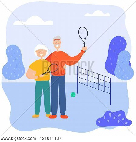 Babushka And Grandmother Play Tennis In The Park. Grandfather And Grandmother Spend Time Actively To