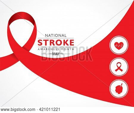 Vector Illustration Of National Stroke Awareness Month Observed In May.