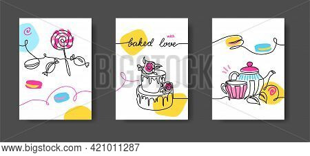Cafe Wall Line Art Decoration. Sweets, Candy, Cake, Macaroon, Tea. Set Of Vector Illustrations, One