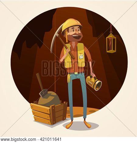 Mining Concept With Retro Cartoon Style Miner In Coalmine Vector Illustration