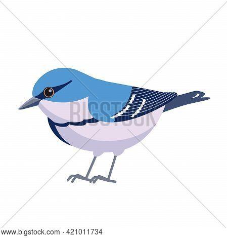 Cerulean Warbler Is A Small Songbird Of The New World Warbler Family. Bird Cartoon Flat Style Beauti