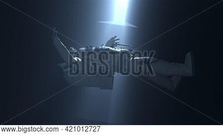 Alien 3d Render Artifact Attracts Spaceman In Spacesuit With Ray. Ancient Extraterrestrial Technolog