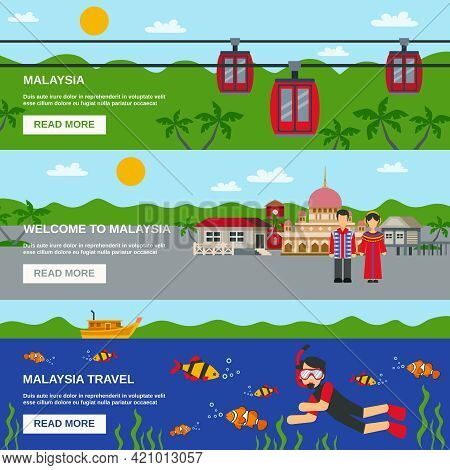 Malaysia Cultural Travels With Famous Cable Car Ride 3 Flat Interactive Horizontal Banners Design Ve