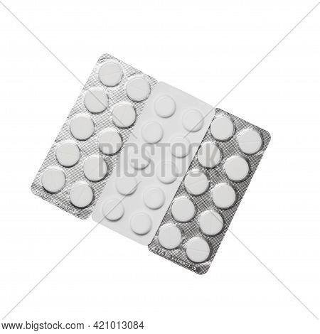 Packed Pills Isolated On White Background Clipping Path, Pharmaceutical Production. White Tablets In