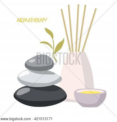 Aromatherapy Set. Aroma Diffuser, Essential Oil In Bowl, Medical Herbs, Balance Stones For Wellness,