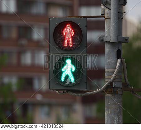 Faulty Street Traffic Light In Need Of Repair