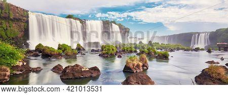 Waterfalls, Great Iguasu Waterfalls Seen From The Boat Bind The Fog Of The Falling Water