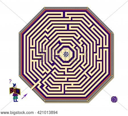 Logic Puzzle Game With Octagonal Labyrinth For Children And Adults. Help The Wizard Find The Way To
