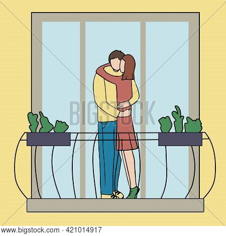 Romantic Couple On The Balcony Of The House. Cute Vector Characters. Guy And Girl In Love And Huggin