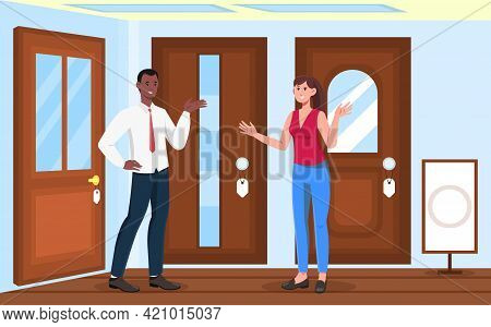 Female Character Is Choosing Doors In Store For Her Apartment. Male Smiling Salesman Is Consulting A