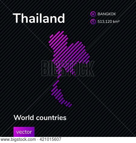 Vector Creative Digital Neon Flat Line Art Abstract Simple Map Of Thailand With Violet, Purple, Pink