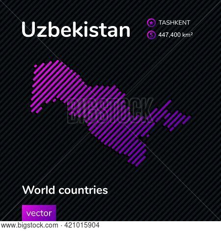 Vector Creative Digital Neon Flat Line Art Abstract Simple Map Of Uzbekistan With Violet, Purple, Pi