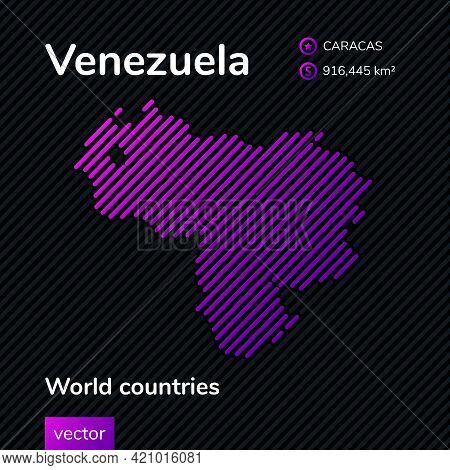 Vector Creative Digital Neon Flat Line Art Abstract Simple Map Of Venezuela With Violet, Purple, Pin
