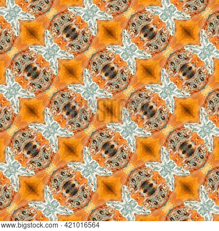 Geometric Symmetric Fractal Abstract Seamless Diagonal Pattern, Multicolor Contrasting Background, S