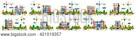 A Set Of Buildings Under Construction. Collection Of Construction Sites. Transport, Equipment, Build