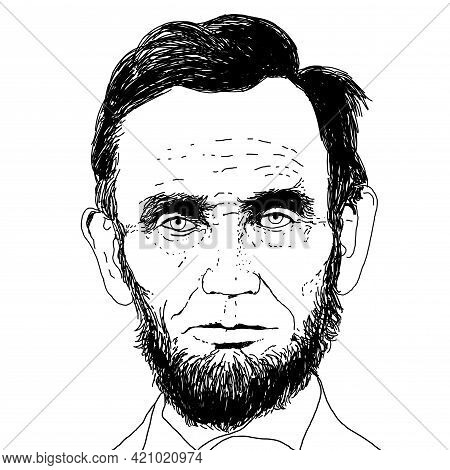 Realistic Illustration Of The President Of The Usa, Abraham Lincoln