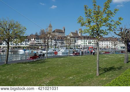 Rapperswil, Switzerland - April 23rd 2021: Park And The Waterfront Of The Centre