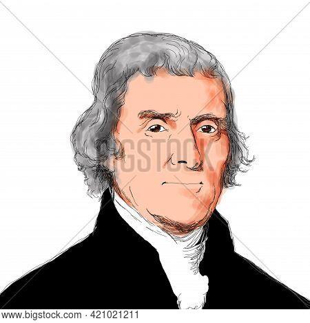 Illustration Of The President Of United States O America Thomas Jefferson
