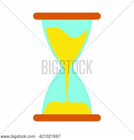 Hourglass Time Clock Icon Vector Symbol Illustration. Sand Hourglass Countdown Sign Hour Isolated Wh