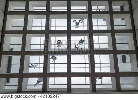 Athens, Greece - June 17, 2017: Interior Of The New Modern Acropolis Museum And People Enjoying The