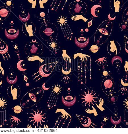 The Seamless Pattern With Mystical Astrological Vector Illustrations. Magic Symbols. Zodiac. Astrono