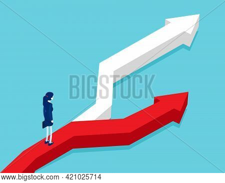 Business Person Stand On Road Fork With Hard And Easy Directions. Choice Way Isometric