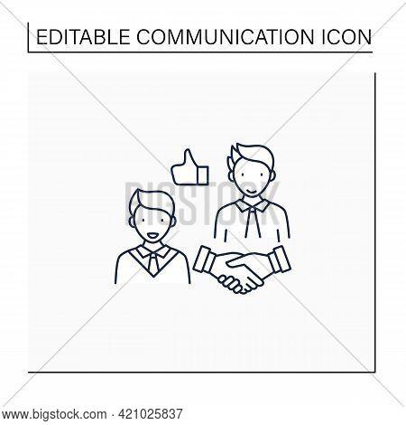 Respectfulness Line Icon. Respect Between Communicators.strong Personality.perfect Interlocutor. Eff