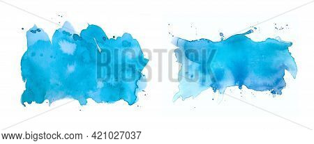 Set Of Isolated Watercolor Spots Of Blue, Turquoise Color On A White Background. Abstract Seamless M