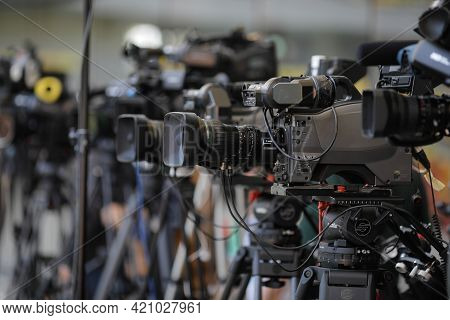 Bucharest, Romania - April 25, 2021: Shallow Depth Of Field (selective Focus) Image With Tv Cameras