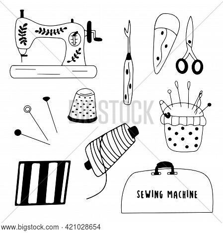 Set Of Elements For Needlework And Sewing. Needle And Thread, Scissors And Thimble, Sewing Machine A