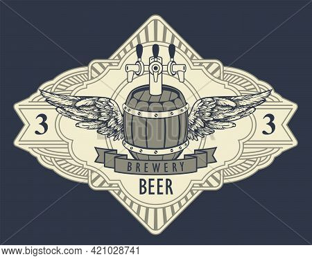 Beer Label Or Banner In Retro Style With Wooden Barrel, Tap, Wings And Ribbon In An Ornate Frame Iso