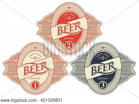 A Set Of Three Beer Labels In Figured Frames In Retro Style Isolated On White Background. Vector Emb
