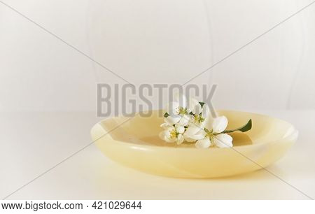 A Beautiful Sprig Of Apple Tree With White Flowers On An Onyx Plate. Abstract Spring Composition. Se
