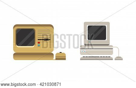 Set Of Old Personal Computers, Retro Office Workspace Devices Flat Vector Illustration