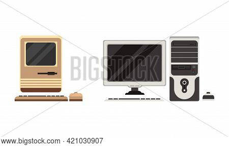 Set Of Retro Personal Computers, Old Office Workspace Devices, Pc Monitor With Keyboard And Mouse Fl
