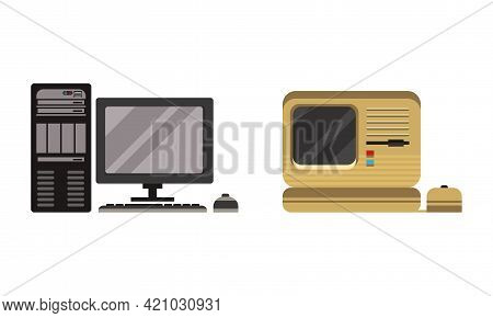 Set Of Retro Personal Computers, Pc Monitor System With Keyboard And Mouse Flat Vector Illustration