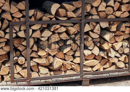 Firewood For Kindling The Stove In An Outdoor Cafe. Storage For Firewood. Close-up, Detail