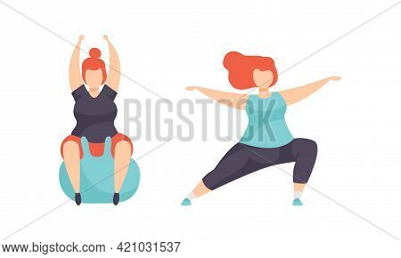 Overweight People Doing Sports Set, Plump Girls Doing Yoga, Exercising On Fitbitball, Weight Loss Pr
